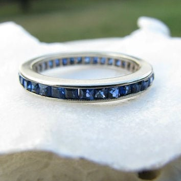 Art Deco Sapphire Eternity Band, Beautiful Square Cut Blue Sapphires, White Gold Milgrain Edged Band, Wedding Band or Stacking Ring
