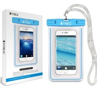FRiEQ Universal Waterproof Case for Apple iPhone 6, 6P, 5s, 5, Galaxy S6, S5, S4 S3, HTC One X, Galaxy Note 3, 2 - IPX8 Certified to 100 Feet(Light Blue)