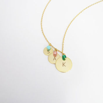Triple Mother Necklace / Initial Three Sisters Necklace / Birthstone Triple Necklace  / Gift for Sisters / Three Kids Mothers Necklace /N297