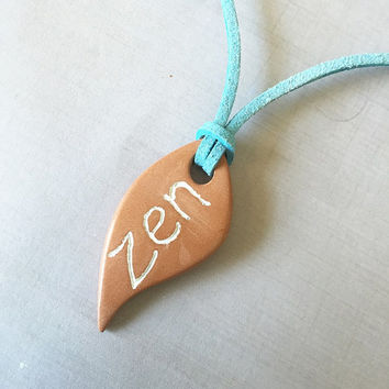 "Zen Leaf Terracotta Diffuser Necklace - Essential Oils - Faux Suede Cord -unglazed Terra Cotta Clay Pendant 1.5"" Tear Drop"