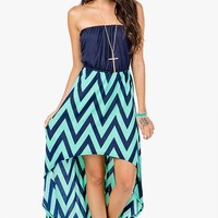 Blouson Zig Zag Hi Lo Dress