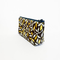 Cotton Zipper Pouch Medium Pouch Cosmetic Bag Pencil Case - Silver and Gold Leaves