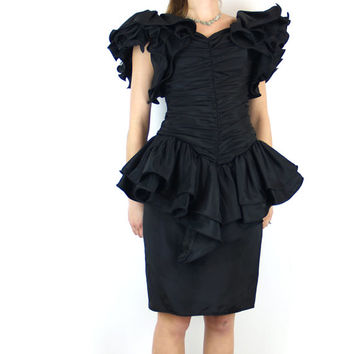 ruffle black XS party dress // giant ruffle sleeves // ruched body con peplum PROM mini dress // extra small 80s vintage 1980s