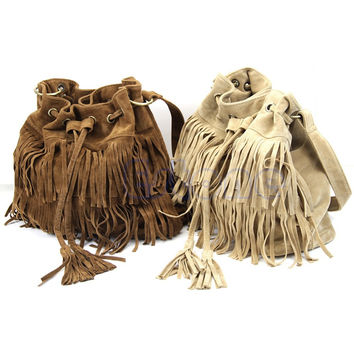 Faux Suede Leather Fringe Tassel Women Handbags Cross Body Messenger Bucket Bag