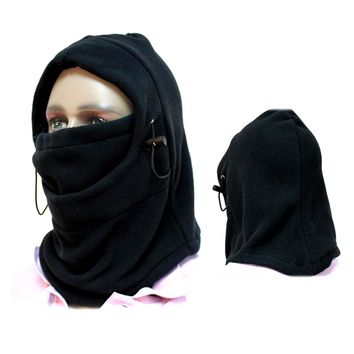 New 6 in 1 Thermal Fleece Hood Double Layers Thicken Warm Full Face Cover Winter Ski Mask Beanie Hat And Gorro Invierno
