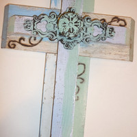 Double vintage Cross, handmade, gift under 40,jesus, home decor