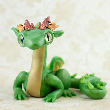 Jade Dragon Fingurine, Polymer Clay Dragon, Dragon Sculpture, Dragon Figure, Green Dragon Figure, Jade Dragon, Green Dragon, Faux Jade OOAK