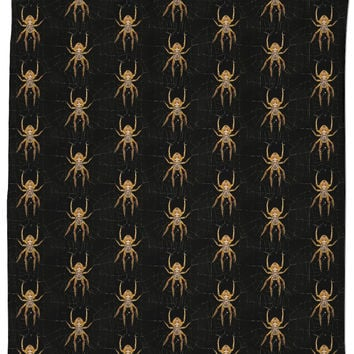 Nasty spiders pattern black bathroom curtain, insects themed bath shower design