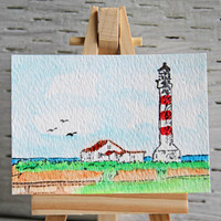 Lighthouse Scene ACEO, Original Watercolor Painting, Miniature Art, Affordable Art Card, By The Sea, Coastal Life, Maritime Landscape