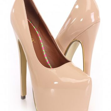 Nude Closed Toe Heels Patent Faux Leather