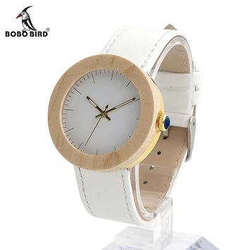 Women's Maple Wooden Wristwatch Simple White Dial Golden Stainless Steel Back Case Ladies Watch orologio donna