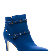 Blue Faux Nubuck Pointed Toe Studded Booties