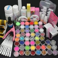 US Seller! 27 in 1 Combo Full Set Professional Acrylic Liquid Nail Art Brush Pen Glue Glitter Strip Shimmering Powder Hexagon Slice Toe Finger Separator Buffer Block Decorations Frech Tips Tool Kit
