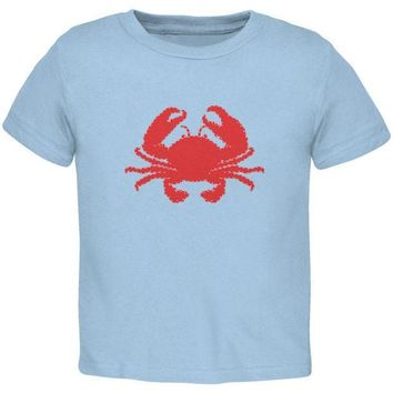CREYCY8 Summer - Crab Faux Stitched Light Blue Toddler T-Shirt