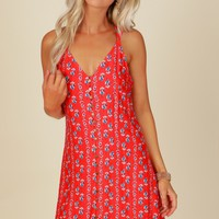 Floral Button Tank Dress Red