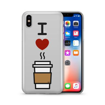 I Love Coffee - Clear TPU Case Cover Phone Case