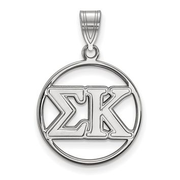 Sterling Silver Sigma Kappa Medium Circle Pendant