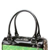 Mini Atomic Tote in Black and Lime Green Sparkle | Blame Betty