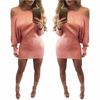 New Coming Fashion Women Club Dress Sexy Ladies Package Hips Bodycon Dress Hottest Woman Night Club  Mini Dress Batwing Sleeve