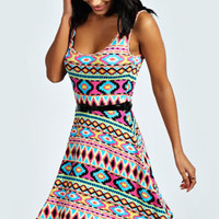 Rose Aztec Skater Dress