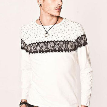 Floral Printed Sweater  (White)
