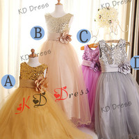 ON SALE!Gold/Champagne/Purple/Silver Sequins Wavy Tulle Skirt Flower Girl Dress Birthday Party Dress with Sash/Ruffle Flower(Z1008)