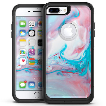 Marbleized Teal and Pink V2 - iPhone 7 or 7 Plus Commuter Case Skin Kit