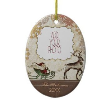 Vintage Santa & Reindeer Christmas Ornament from Zazzle.com