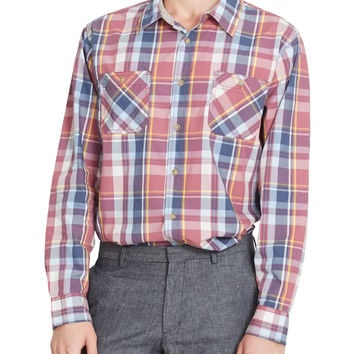 PREMIUM Mens Lightweight Yarn Dyed Plaid Button Down Poplin Shirt