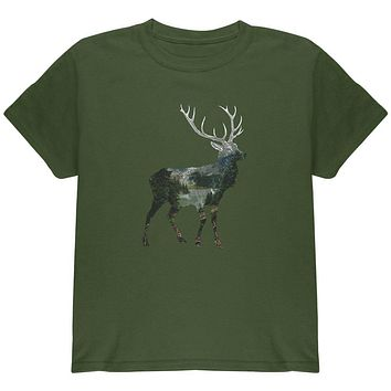 Deer Forest Nature Hiking Hunting Youth T Shirt