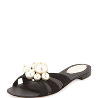 Pearly-Bead Flat Leather Sandal, Black