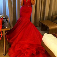 V Neck Mermaid Prom Dresses, Red Mermaid Prom Dress, V Neck Evening Dresses