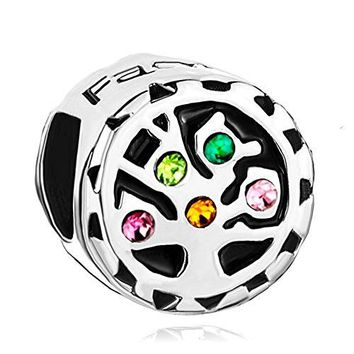 LovelyJewelry Family Tree of Life Love Charms Colorful Crystal Birthstone Beads For Bracelet