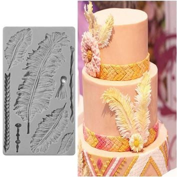 DCCKFS2 New Bakery Feather 3D Silicone Mold DIY Fondant Cake Kitchen Accessory Cake Decorating Tools Cupcake Dessert Decor