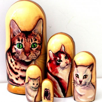 Cats matreshka traditional russian nesting doll toy made curved painted by hand collectible souvenir wood linden holiday birthday gift birch