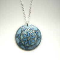 Necklace Blue Cerulean - Hand Painted Pendant - Chic Jewelry with Floral Mandala Pattern