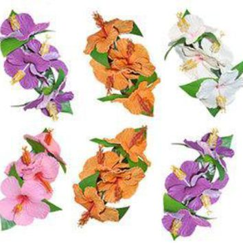 Long Hibiscus Hair Clip Assorted Colors