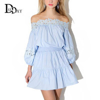 2016 Hot Women Summer Light Blue Mini Cute Kawaii Dresses Strapless Lace Insert Slim A Line Sexy Off Shoulder Dress S222140