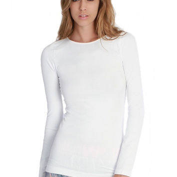 Essential Seamless Crew Neck Top - White