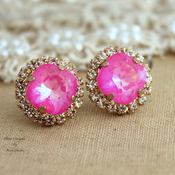 Pink Rhinestone Crystal stud earring bridesmaids gifts bridal earrings - 14k 1 micron Thick plated gold earrings real swarovski.
