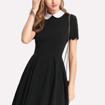 Contrast Peter Pan Collar Scalloped Dress