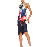 Backless Silk Dress in Thermo Floral