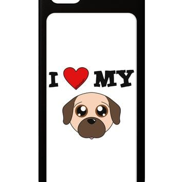 I Heart My - Cute Pug Dog - Fawn iPhone 5 / 5S Grip Case  by TooLoud