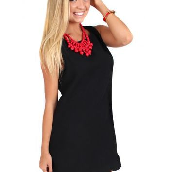 Nothing To Lose Black Scallop Shift Dress | Monday Dress Boutique