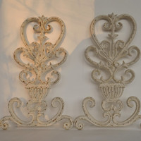 Ornate Cast Iron Wall Art,  Vintage White Metal Wall Decor with Chippy Paint, Architectural  Indoor or Wall Hangings