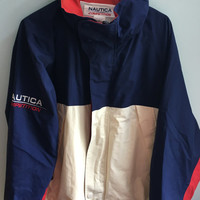 vintage 90s red, white, blue nautica competition jacket / large