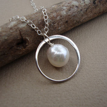 Tiny Circle and Akoya Pearl Necklace - All Solid Sterling Silver - Bridal Necklaces, Wedding, Bridal Favors, Dainty Elegant