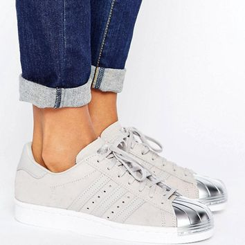 adidas Originals Gray Metallic Superstar Sneakers With Silver Toe Cap at asos.com