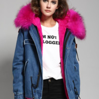Denim Parka Jacket Hot Pink Fur