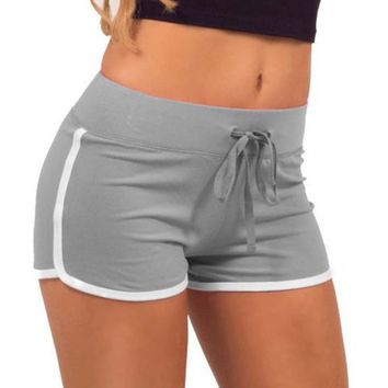 Women Summer Yoga Shorts Sport Gym Workout Waistband Slim Cotton Yoga Elastic Shorts Female Big Size Sport Hot Short Pants   0.2